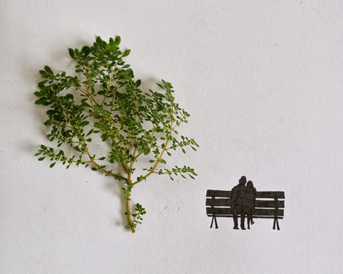 06-Couple-on-a-bench-Freelance-Illustrator-Tang-Chiew-Ling-Art-with-Leaves-www-designstack-co