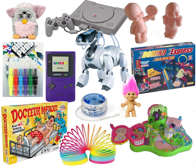 jouet année 1990 2000 vintage retro vieux jouet cadeau de noël année 1990 2000 nostalgie furby playsation one babies game boy color domino express polly pocket docteur maboul ressort arc en ciel airs pens yoyo trolls