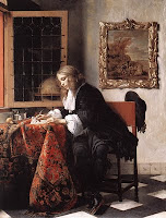 17th century young man writing letter next to an open window