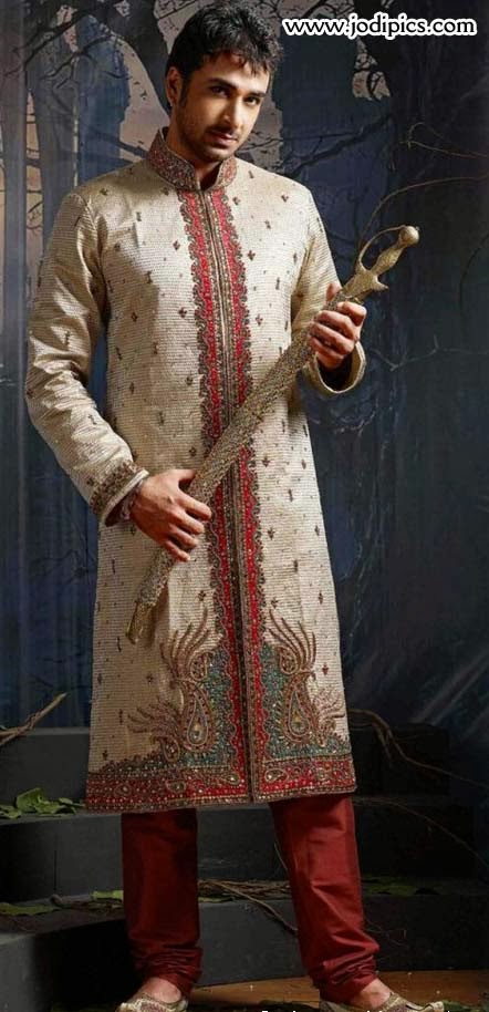 groom beautiful stylish dulha sherwani for wedding 2014
