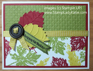 Card made with leaf dies, Banner Framelits and Stampin'UP! Gently Falling Stamp Set.