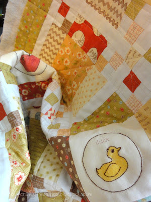 a detail shot of some of the quilting on the Whimsy baby quilt