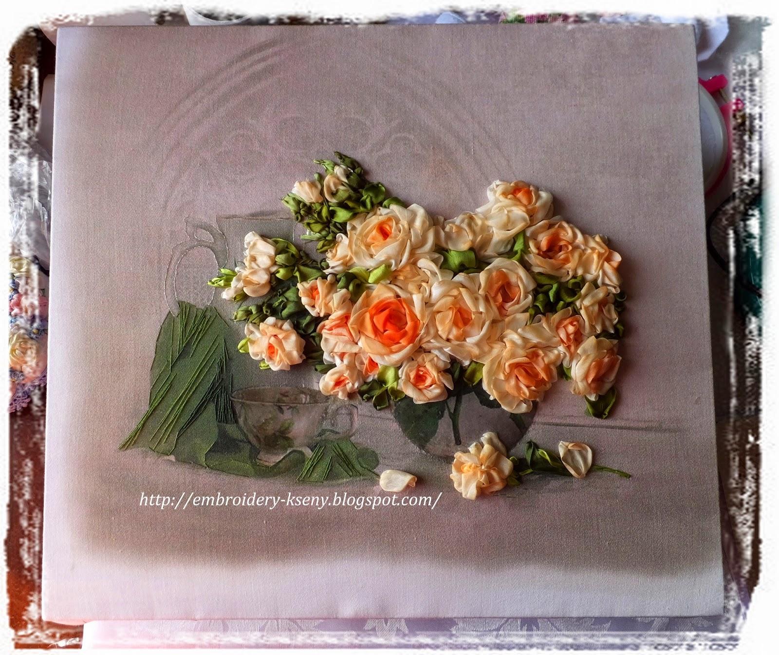 вышитая картина лентами розы, чайные розы, розы