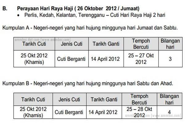 Tarikh Cuti Berganti Persekolahan Sempena Hari Raya Haji 2012