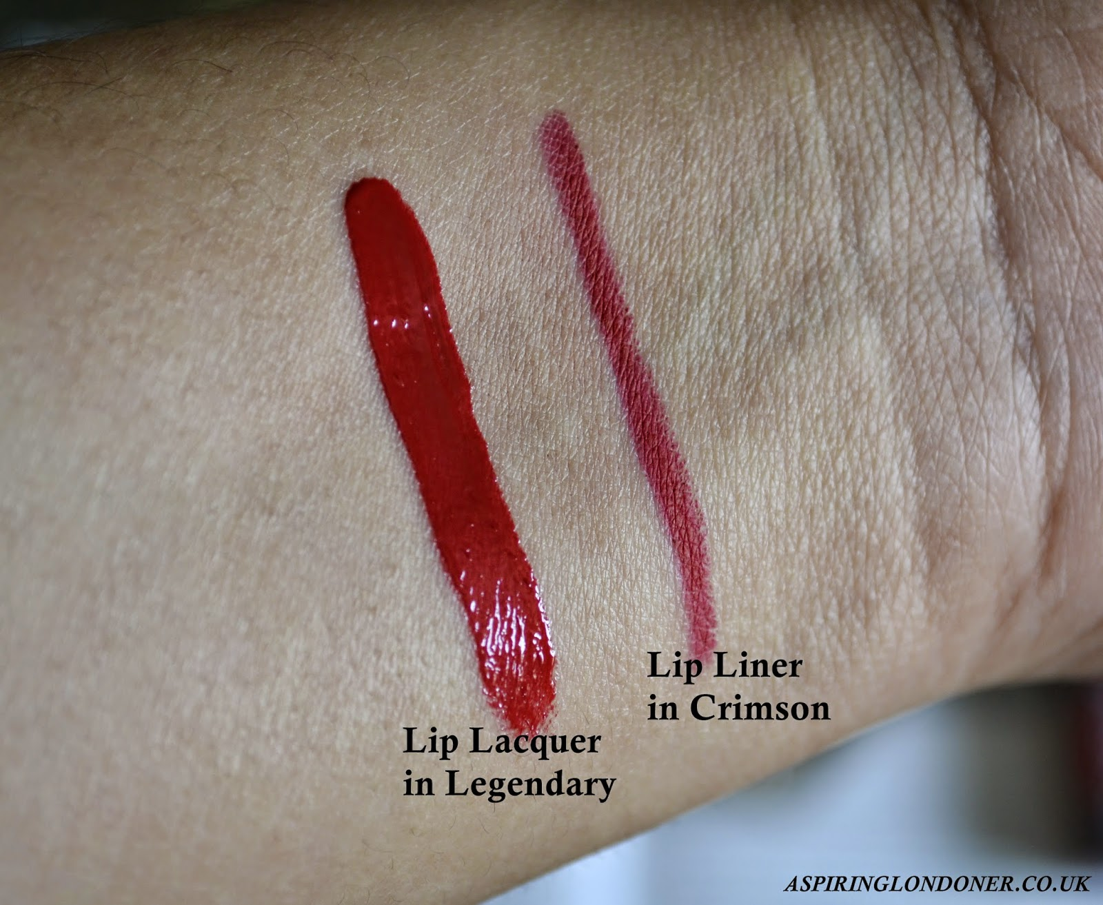 Smashbox Lip Lacquer Legendary Swatch & Lip Liner Crimson Swatch - Aspiring Londoner
