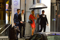 Paris Hilton leavs her CAnnes hotel with boyfriend