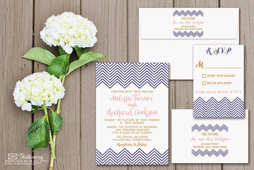 Chevron Wedding Invitation Set in Navy, Blush & Gold