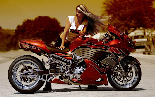 Red Mortorcycle Blonde Girl HD Wallpaper