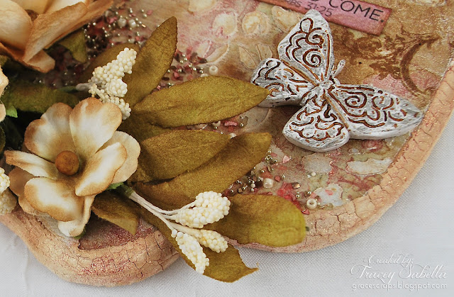 Scripture MIxed Media Art by Tracey Sabella for Scraps of Elegance with Prima Flowers and Resin, Crackle