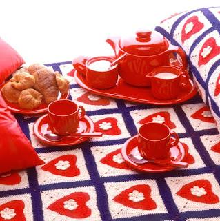 dia dos namorados - artesanato em crochê - colcha coração