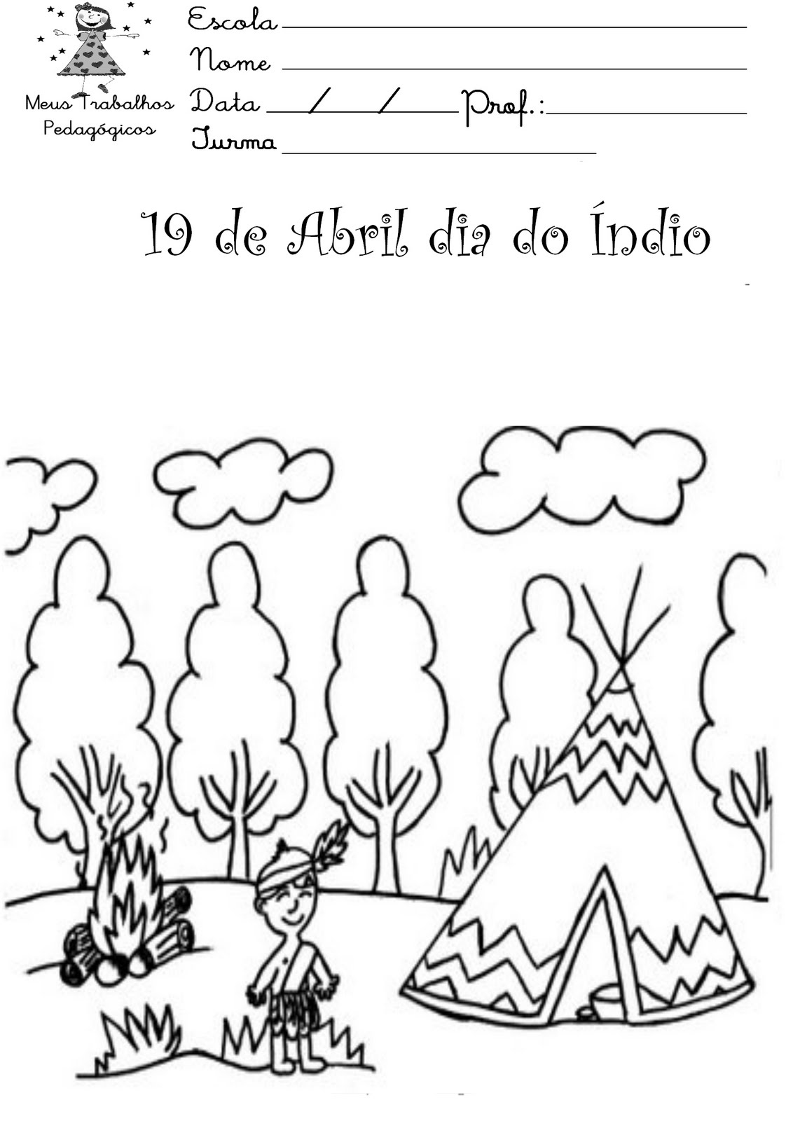 PZ C: indios para colorir
