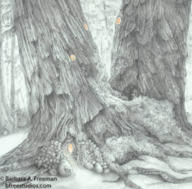 """Forest Lodge"" © Barbara A. Freeman, M.A.A - Fine Art Miniature - Awarded Third in Drawing / Pastel"