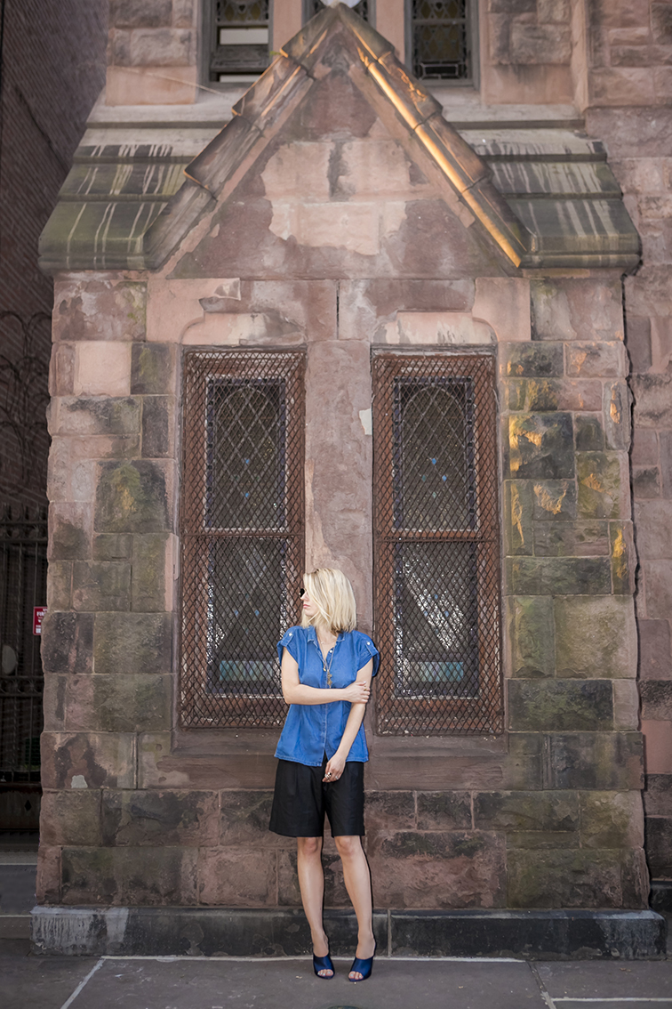 Brick church on the Upper West Side, New York City, Zara denim chambray tunic, Tibi oversized bermuda shorts, Nina Ricci navy blue satin slides or mules, what I wore, fashion blogger, NYC