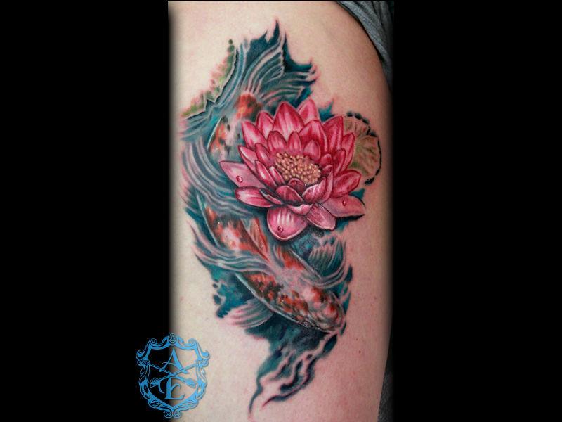 Bộ hình xăm cá chép hoa sen đẹp 2015 18