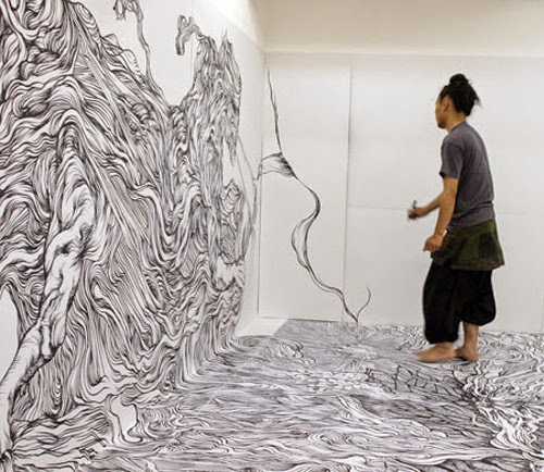Room Coated With Drawings