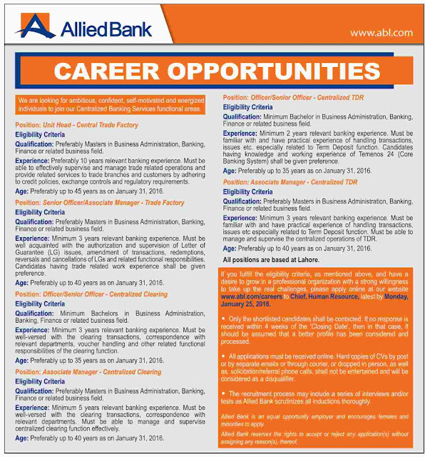 Various New Jobs in Allied Bank ABL Jobs 2016