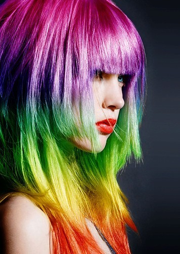 reina rainbow hair over