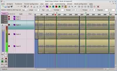 Áudio em sequencia no MusE