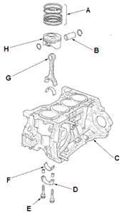 2002 acura rsx piston and connecting rod parts schematic