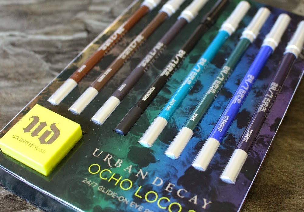 urban decay, ocho loco 2, 24/7 glide-on eyeliner, pencil eyeliner, holiday collection, makeup, cosmetics, swatch, swatchfest