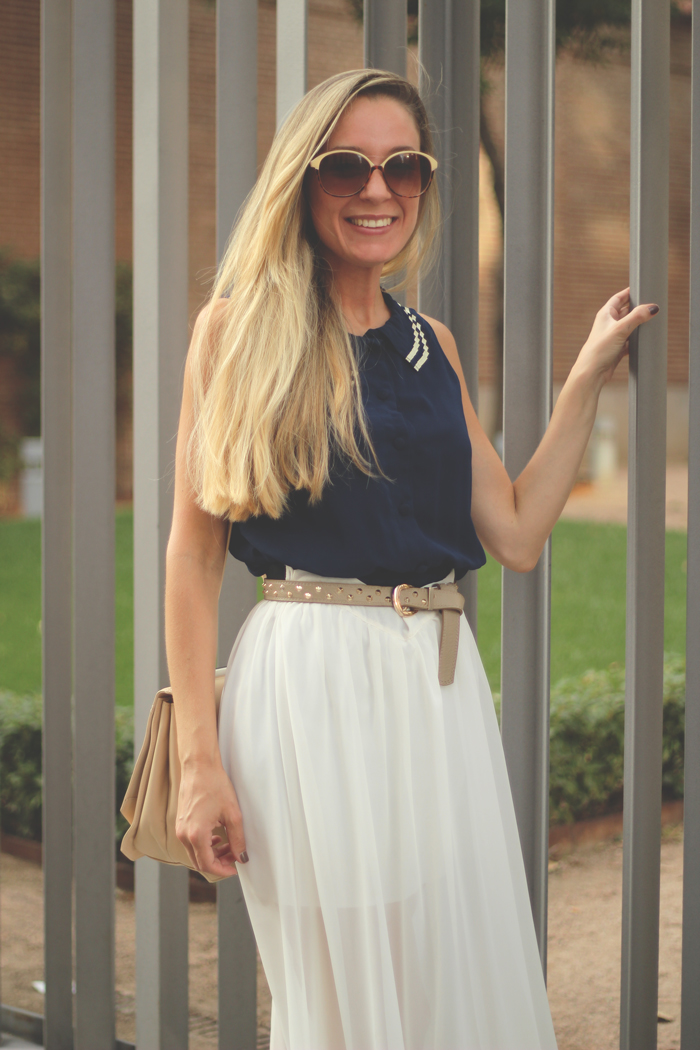 My Showroom, street style, white, navy, maxi skirt, fashion blogger, long skirt, sara, stradivarius, ebay.es, anniel