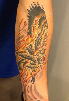 eagle tattoo; fire tattoo