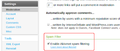 IntenseDebate - Moderation Settings SPAM