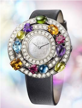luxury bvlgari astrale watch with white gold, diamonds and coloured jewels