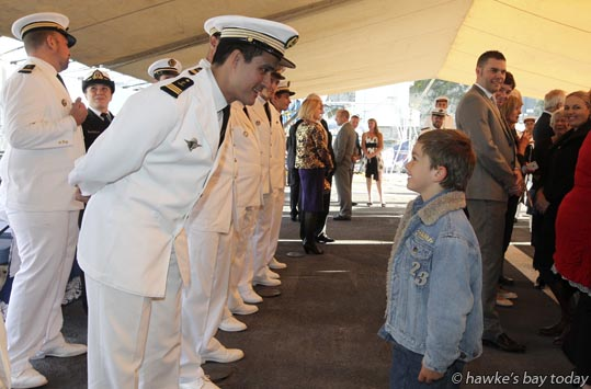 The operations officer chats to Teo before Mrs Florence Jeanblanc-Risler, the French Ambassador, presented three Legion dHonneur medals, on the French frigate FNS Prairial, berthed in Napier Port, Napier. photograph