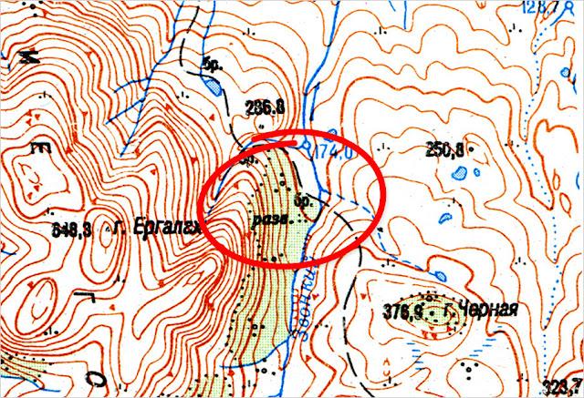 Красноярский край. Таймырский полуостров. Город Норильск, гора Кулгахтах. Ан-2, карта, фото.