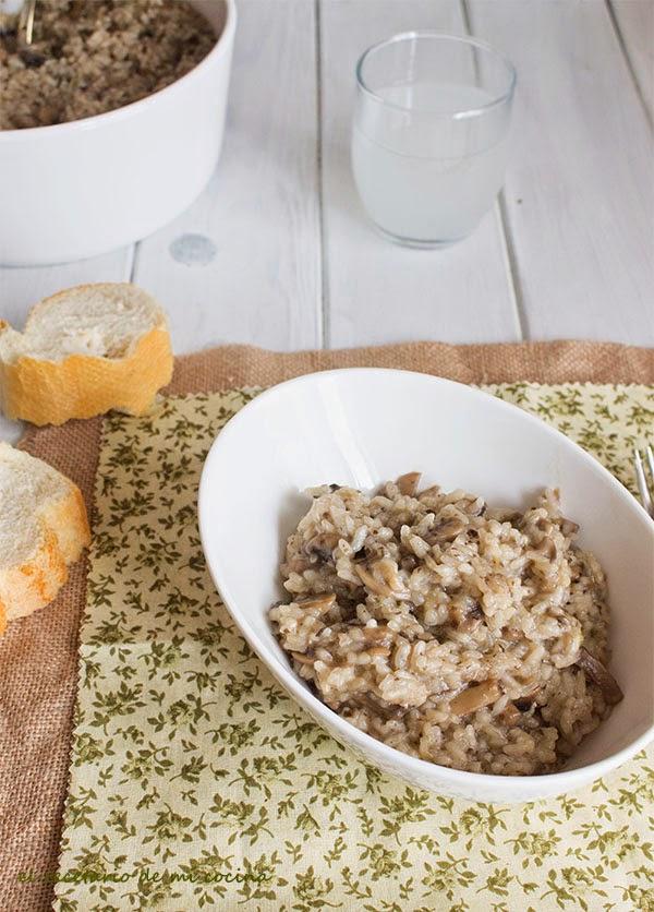 arroz con champis y puerro