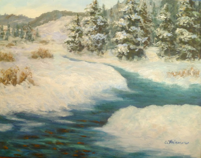 Painting of a river in the winter snow with trees and hills