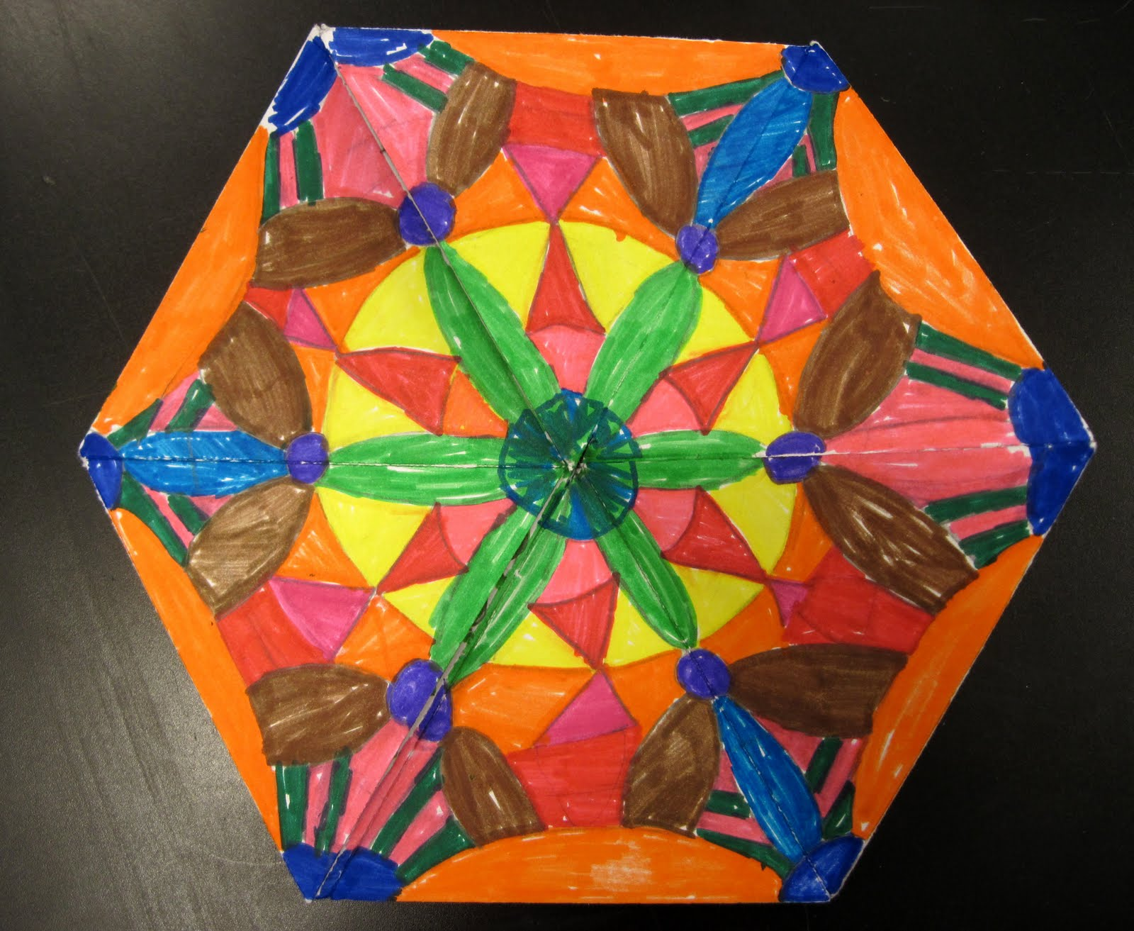 A Third Challenge Was Color Students Needed To One Side Of The Flexagon Using Either Complementary Colors Triadic Or