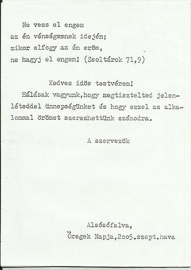 Öregek Napja 2005. szept.