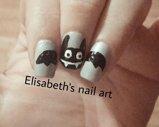 Diseño nail art murcielago