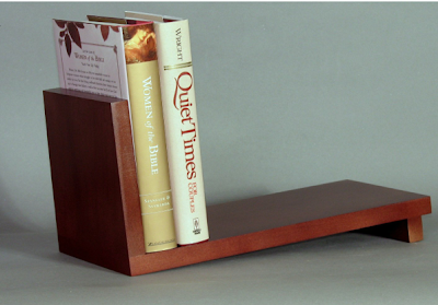 slanted desk or table top book rack, wood