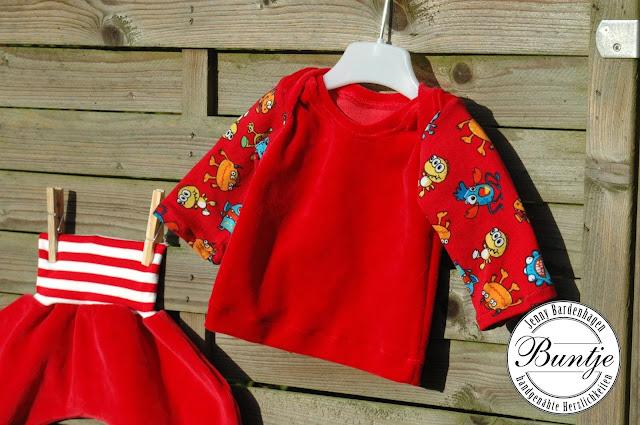 Hose Baby Mitwachshose Pumphose Geschenk Geburt Bündchen Dschinni FeeFee Nicky rot Shirt Zwergenverpackung Schnittmuster Farbenmix Monster amerikanischer Ausschnitt nähen Buntje