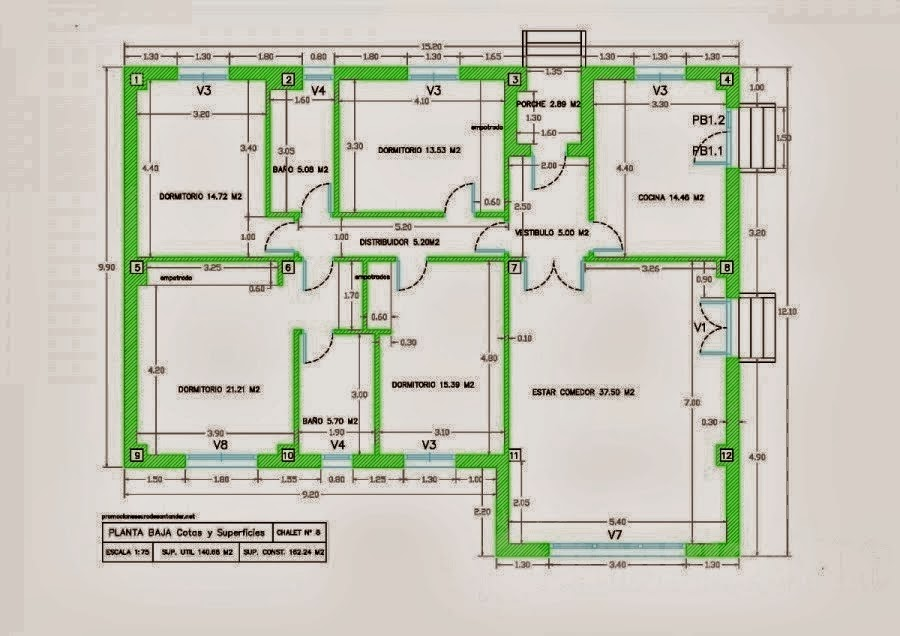 Planos en 2d autocad 2013 programacion estructurada for Casas en 2d