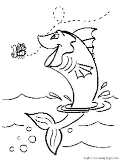Jumping Fish Kids Coloring Pages