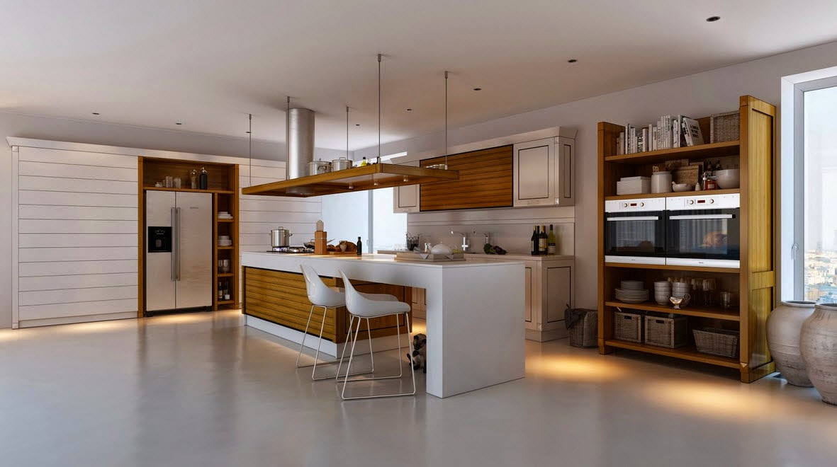 White kitchen and pantries in natural wood
