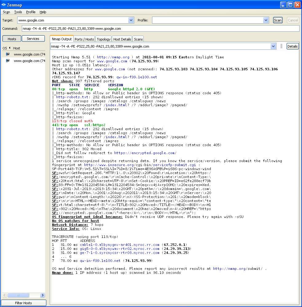 Windows command prompt nmap - Non Verbose Google Com Nmap Scan