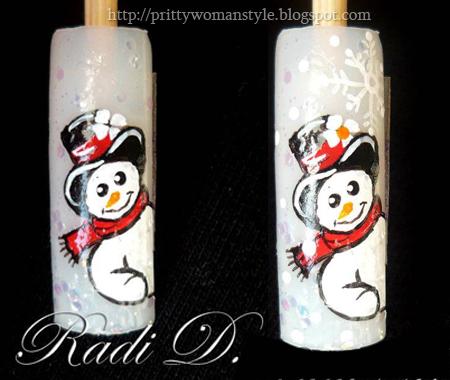 Снежен човек - рисуваме цветенце и снежинка