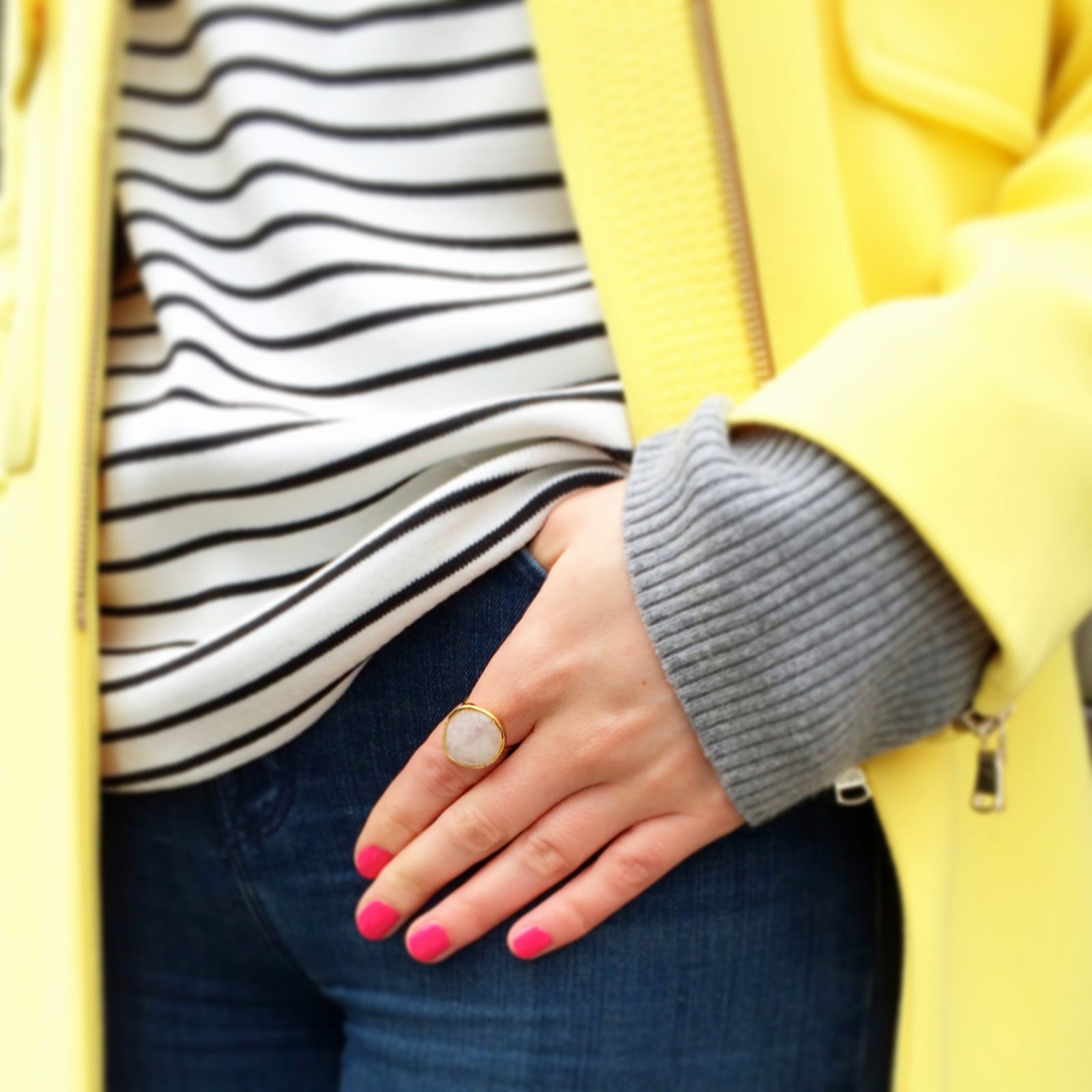 dior nail polish, dior polish, dior plaza, stripes, yellow coat, j brand jean, chrissabella