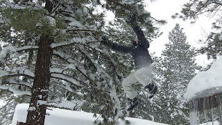 Devan Matthews jumps off roof into big pile of snow
