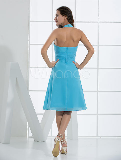 China Wholesale Clothes - Blue Deep V-Neck Flower Pleated Satin Chiffon Summer Homecoming Prom Dress