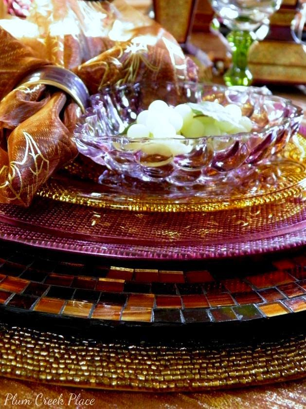 Plumcreek Place - Purple, gold, bronze, and copper Fall tablescape.