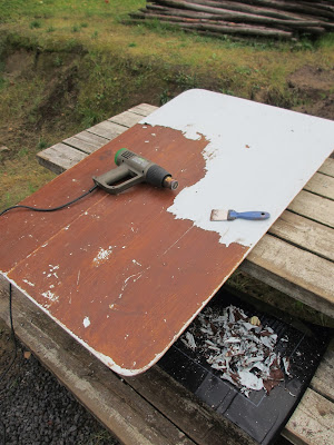 Fossestua: gammelt kjøkkenbord ble stuebord. før/etter bilder.