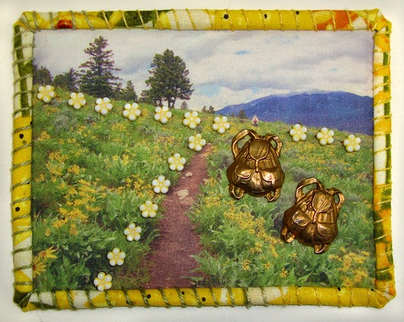 Robin Atkins, Travel Diary Quilt, detail, hiking in Yellowstone National Park
