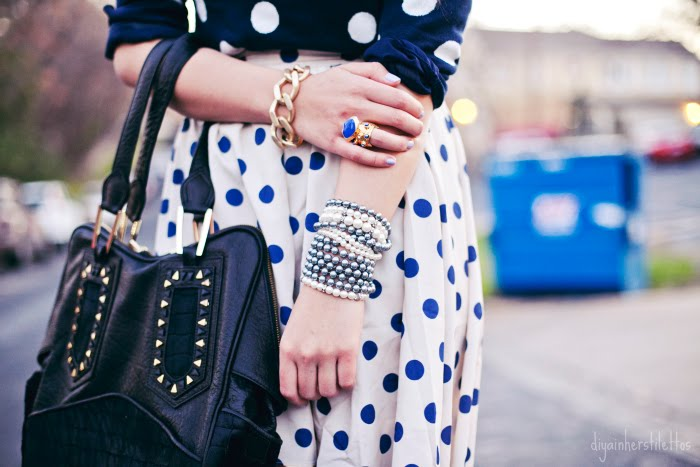 polka dots old navy sweater, polka dotted lulus lulu.com dipped hemline skirt, topshop velvet blue metallic heels shoes, house of harlow tote, fashion blog, austin fashion blog, austin street style, texas fashion style, diya liu
