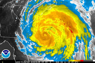 >600-MILE WIDE HURRICANE IRENE SET TO BUZZSAW UP EAST COAST, HOME TO MILLIONS. SEVERE DAMAGE FROM NORTH CAROLINA TO NEW ENGLAND A REAL CONCERN
